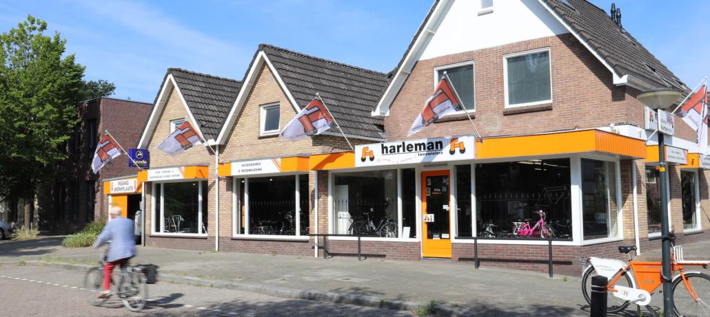 De winkel van Harleman Tweewielers aan de Pinsterbloem in Apeldoorn.